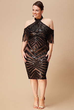 Wholesale-Plus-Size-Fringe-Collar-Sequin-Midi-Dress-DR2588P