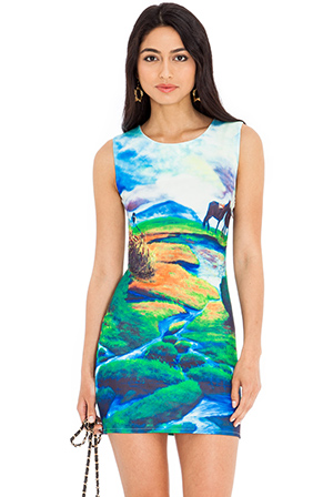 Wholesale Landscape print shift dress