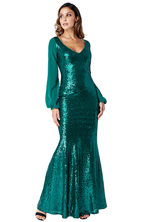 Wholesale-Sheer-Sleeved-Sequined-Dress