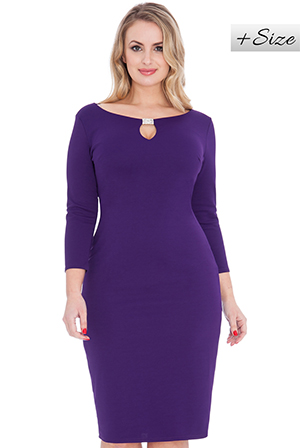 Keyhole-Front-Diamante-Plus-Size-Midi-Dress