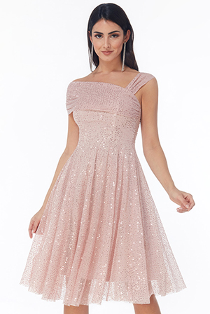 Wholesale-One-Shoulder-Bardot-Sequin-and-Mesh-Midi-Dress-DR2822