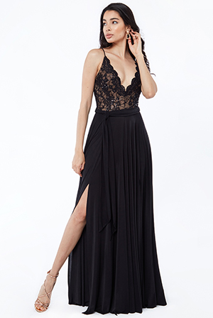Sequin-Lace-Top-With-Flared-Skirt-Maxi-Dress