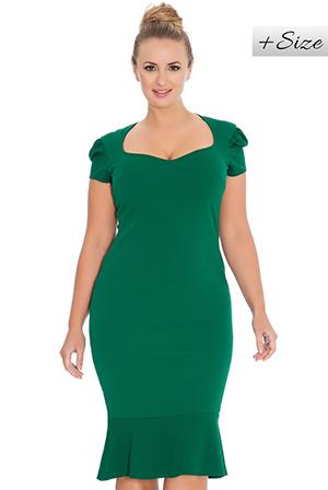 Wholesale Sweetheart Neckline Peplum Hem Plus Size Midi Dress