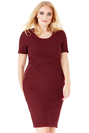 Wholesale Plus Size Midi Dress with Zip Detail