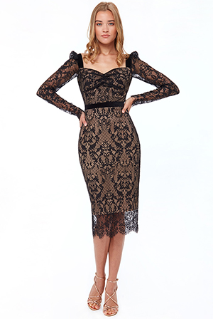 WOVEN-EYELASH-LACE-Midi-DRESS