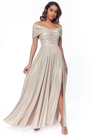 Gathered-Bardot-Bodice-maxi-with-slit-Dress