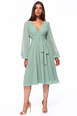Wholesale-Wrap-Back-Chiffon-Midi-with-Blouson-Sleeves-DR2927