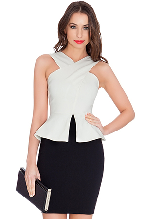 Wholesale Cross Neck Peplum Contrast Mini Dress