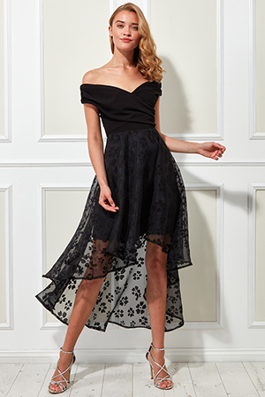 Scuba-Offshoulder-With-Organza-High-And-Low-Skirt-Dress