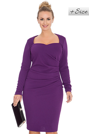 Long-Sleeve-Ruched-Midi-Dress