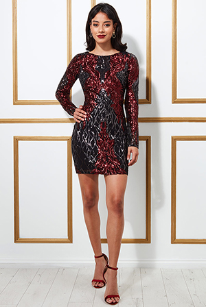 Boat-Neck-Full-Sleeve-Sequin-Midi-Dress