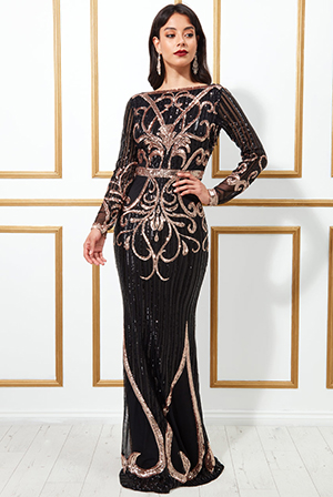 Sequin-Embellished-Evening-Maxi-Dress