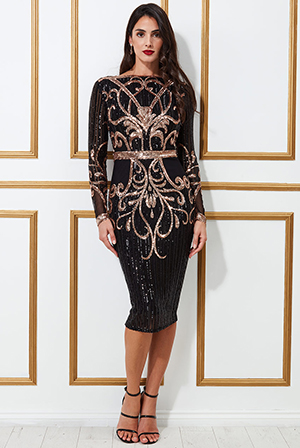 Sequined-Mesh-With-Open-Black-Midi-Dress