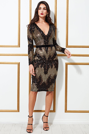 Long-Sleeve-Sequin-Party-Midi-Dress