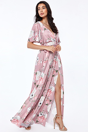 Floral-Print-Wrap-Front-Maxi-With-Flutter-Sleeves-Dress
