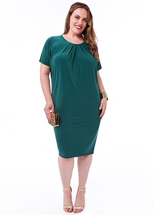 Slouchy-Short-Sleeve-Midi-Dress-with-Round-Neck