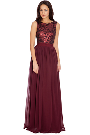 Wholesale Sequined Bodice Maxi Dress