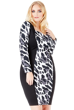 Wholesale Plus Size Leopard Print Midi Dress