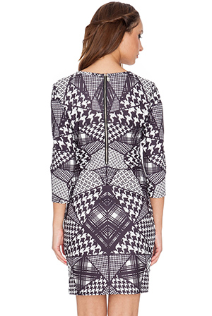 Wholesale Houndstooth Check Placement Print Dress