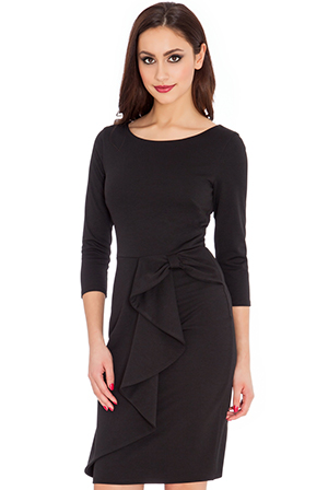 Wholesale Waterfall Peplum Quarter Sleeve Midi Dress