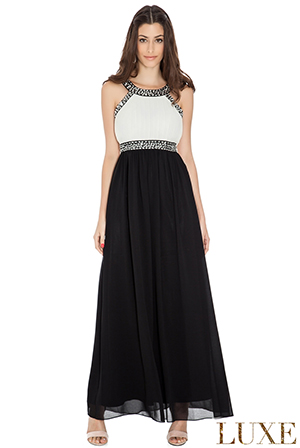 Wholesale Beaded Halter Neck Empire Line Chiffon Evening Maxi Dress