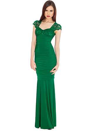 Wholesale Sweetheart Neckline Cap Sleeve Empire Line Evening Maxi Dress