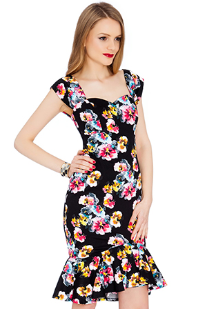 Wholesale Floral Print Sweetheart Neckline Ruffled Hem Midi Dress