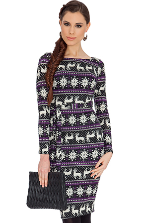 Wholesale Knitted Tribal Reindeer Print Christmas Snowflake Dress with Self Tie Belt
