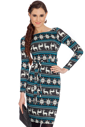 Knitted-Tribal-Reindeer-Print-Christmas-Snowflake-Dress-with-Self-Tie-Belt