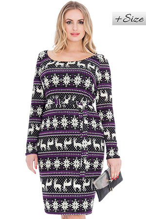 Wholesale Knitted Tribal Reindeer Print with Self Tie Belt
