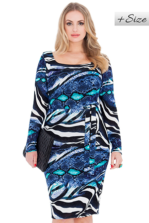 Wholesale Boat Neck Long Sleeve Knitted Plus Size Dress with Self Tie Belt