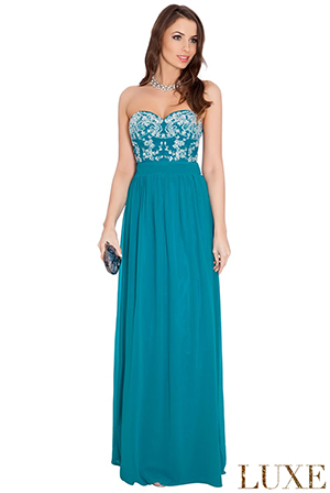 Wholesale Embroidered Bandeau Pleated Waist Chiffon Maxi Dress