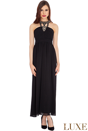 Wholesale Cut Out Halter Beaded Neck Chiffon Evening Maxi Dress