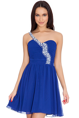 Wholesale Sweetheart Neckline Beaded One Shoulder Strap Chiffon Mini Dress
