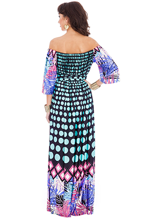 Wholesale Polka Dot Palm Leaves Off Shoulder Three Quarter Sleeve Maxi Dress with Tie