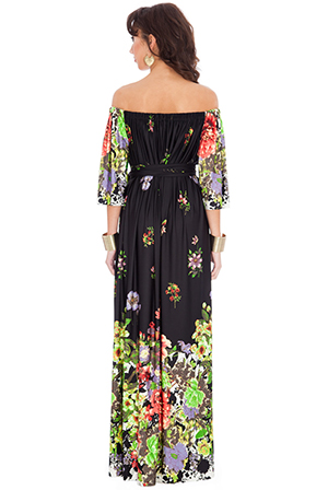 Wholesale Gradiated Floral Print Off Shoulder Three Quarter Sleeve Maxi Dress with Tie