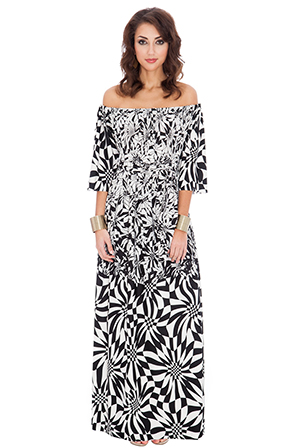 Wholesale Psychedelic Monochrome Print Off Shoulder Three Quarter Sleeve Maxi Dress with Tie