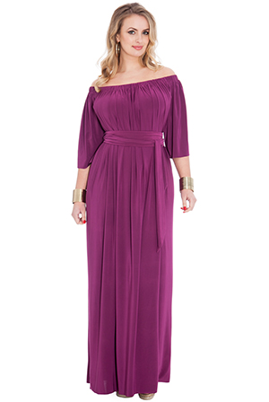 Wholesale Off Shoulder Bardot Three Quarter Sleeve Maxi Dress with Tie