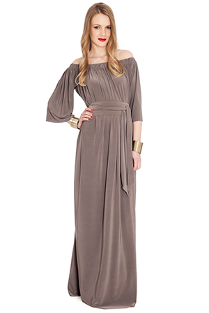 Wholesale Off Shoulder Three Quarter Sleeve Maxi Dress with Tie