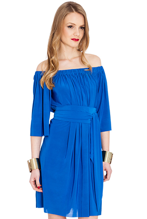 Wholesale Off Shoulder Bardot Three Quarter Sleeve Mini Dress with Tie