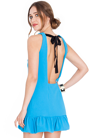 Wholesale-Flared-Hem-Open-Back-Mini-Dress