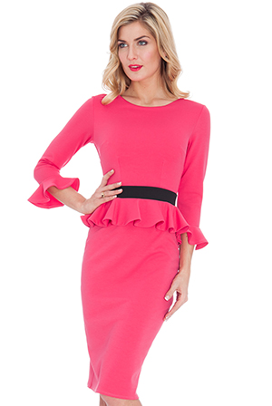 Wholesale Three Quarter Sleeved Peplum Midi Dress