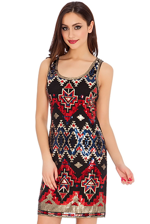 Aztec-Sequin-Sleeveless-Mini-Dress