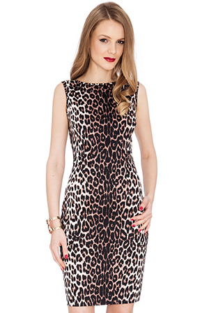 Wholesale Leopard Print Sleeveless Mini Dress