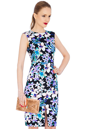 Wholesale Floral Front Split Sleeveless Midi Dress