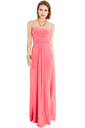 Wholesale Plain Bandeau Jersey Maxi Dress