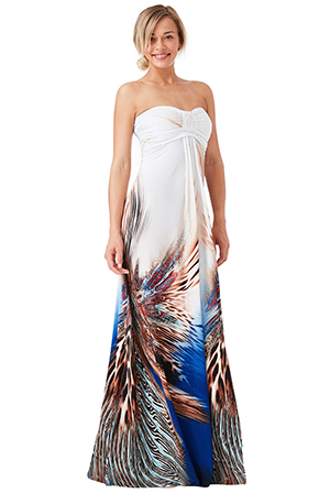 Wholesale-Bandeau-Printed-Maxi-Dress