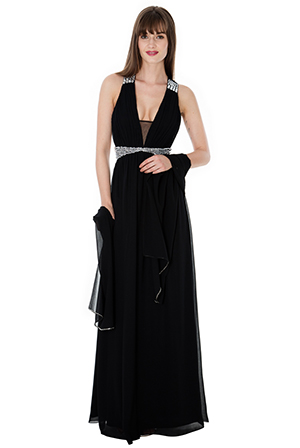 Wholesale-Crystal-Embellished-Chiffon-Maxi-Dress-with-Scarf