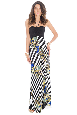 Wholesale Floral Print Halter Maxi Dress