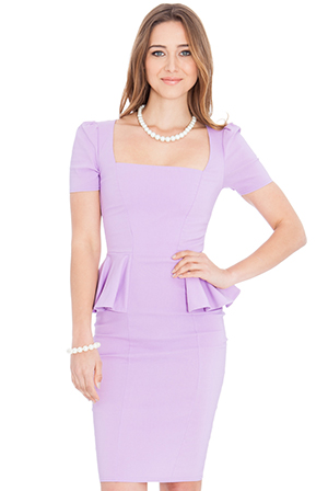 wholesale-deep-neckline-side-peplum-short-sleeve-midi-dress